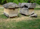 stock photo of hearse  - Old sarcophagi exposed in City Park in the city of Jajce Bosnia - JPG