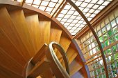 stock photo of bannister  - spiral staircase in mandala spa - JPG