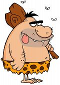 picture of hairy tongue  - Bored Caveman With Protruding Tongue Cartoon Character - JPG