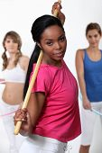 picture of hulahoop  - Woman in a gym glass - JPG