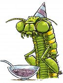 stock photo of punchbowl  - A cartoon monster by the punchbowl at a party - JPG