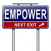 foto of empower  - Illustration depicting a roadsign with an empower concept - JPG