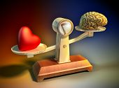 pic of intuition  - Heart and brain on a balance scale - JPG