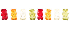 picture of gummy bear  - Gummy bears as concept of team isolated on white - JPG