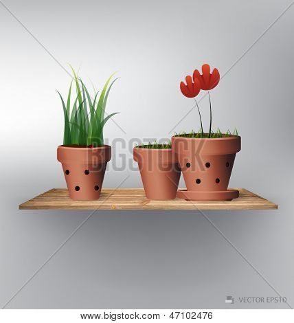 Wood shelf with red flower plant in clay pot. Vector illustration.