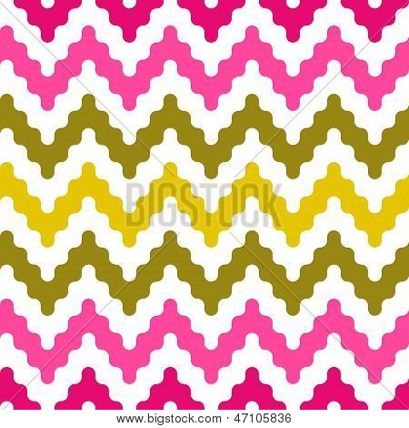 Colorful zigzag geometric seamless pattern in pink and green, vector