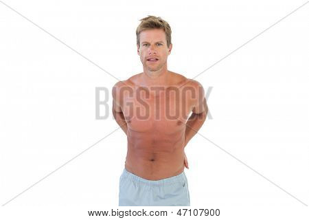 Shirtless handsome man on white background