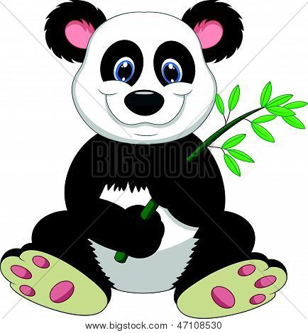 Reuzenpanda cartoon eten bamboe