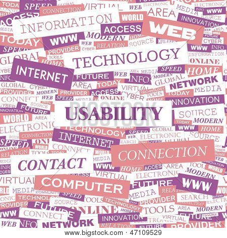 USABILITY. Word cloud concept illustration.
