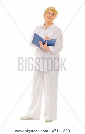 Senior woman with notebook isolated