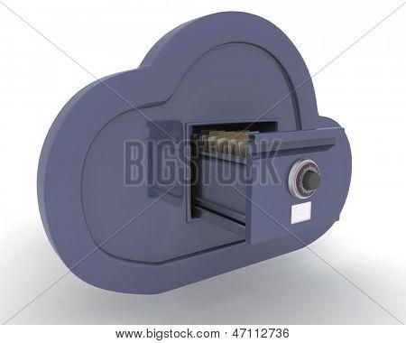 3D Render of online storage in the cloud