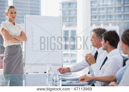 Businesswoman with arms folded in front of colleagues during a meeting