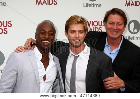 LOS ANGELES - JUN 17:  Wole Parks, Drew Van Acker, Brett Cullen arrives at the