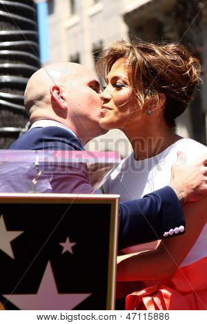 LOS ANGELES - JUN 20:  Pitbull, Jennifer Lopez at the Hollywood Walk of Fame star ceremony for Jennifer Lopez at the W Hollywood Hotel on June 20, 2013 in Los Angeles, CA