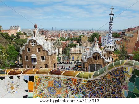 BARCELONA - MAY 9 :The famous Park Guell on May 9, 2013 in Barcelona, Spain. Park Guell is the famous park designed by Antoni Gaudi and built in the years 1900 to 1914