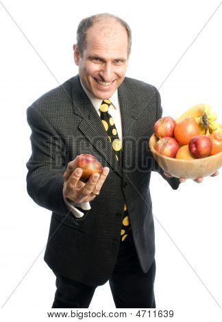Man With Fresh Fruit In Bowl