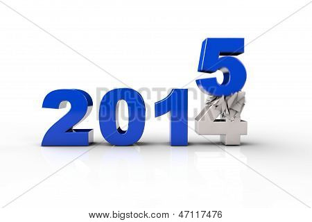 Neujahr 2015 und alte 2014 Rendern 3D. Over White Background