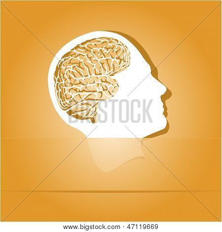 Human brain. Paper sticker as bookmark. Raster illustration.