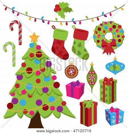 Colección de artículos de Navidad Cute