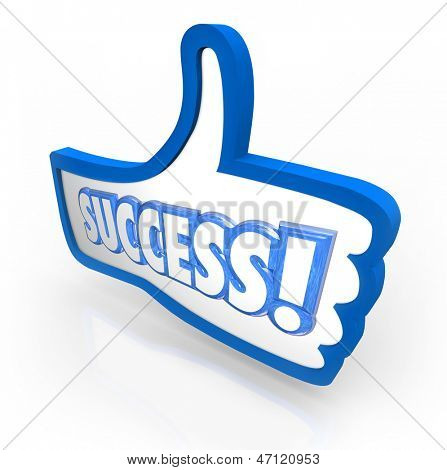 The word Success in a blue thumb's up symbol to illustrate you like a product, company or service and offering feedback, review or rating