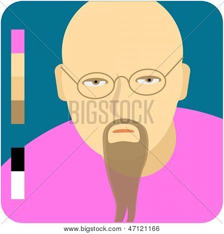 Bald man with a beard. Vector minimal flat icon.