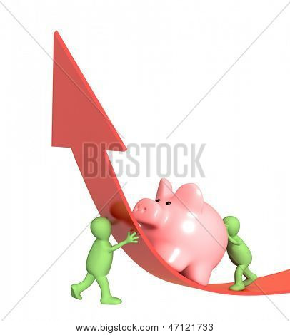 Two puppets with piggy bank. Isolated over white