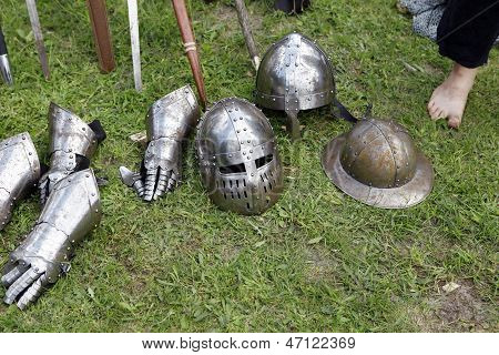 Medieval Knights Helmets And Gloves