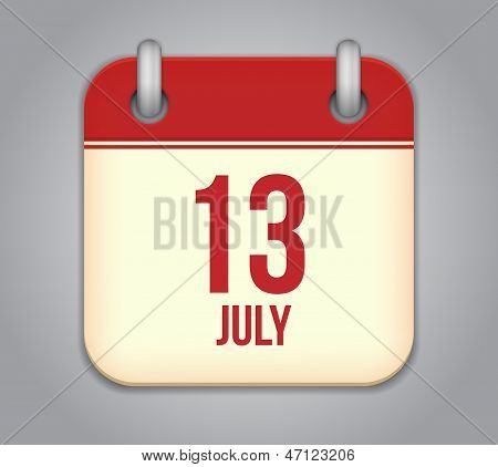 Vector square calendar app icon 13 july