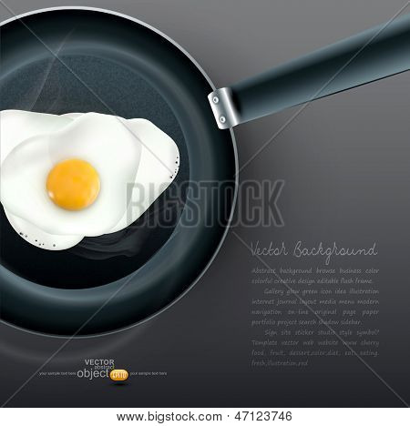vector frying pan with fried eggs