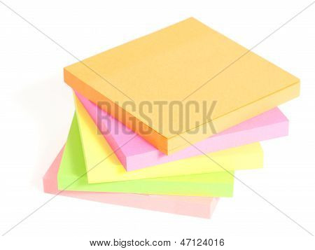 Colored Sticky Note Are Stacked On Each Other