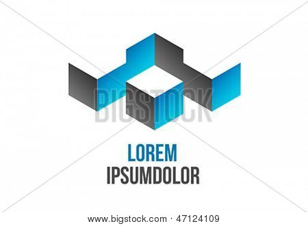 abstract 3d geometric shape - vector icon