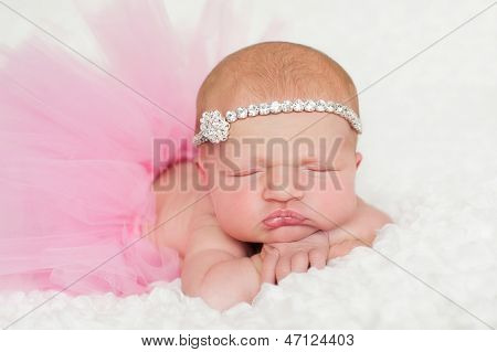 Portrait Of A Newborn Baby Girl In Pink Tutu