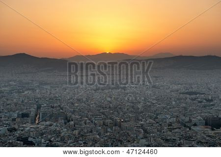 View of Athens at sunset