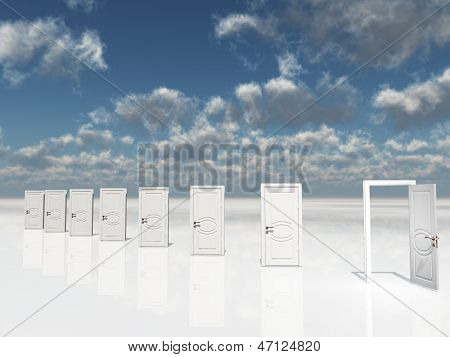 Sigle open door amongst several  in surreal landscape
