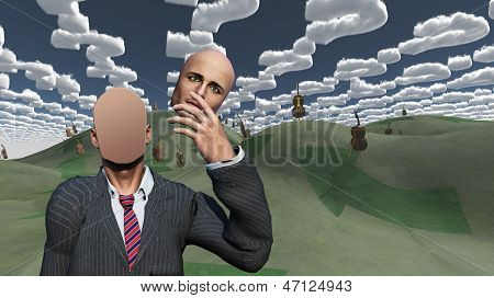 Man removes face shows blank surface in landscape with question shaped clouds and many cellos
