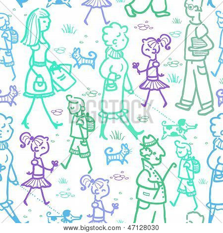 People walking seamless pattern background and borders