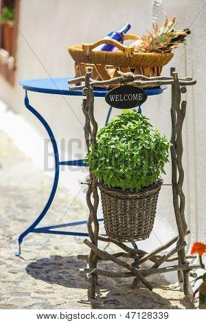 Small Cute Greek Details At Greek Streets On Santorini