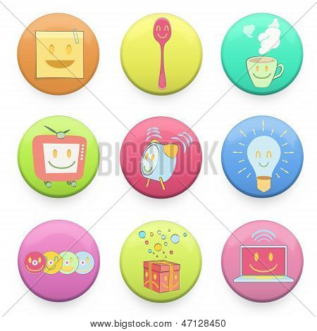 Collection Of Colorful Badges With Concept Icon Inside. Vector Design.