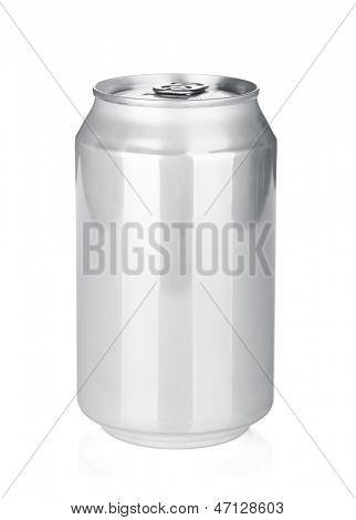 Aluminum beer or soda can. Isolated on white background