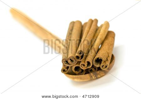 Cinnamon Sticks On White - Tight Depth Of Field