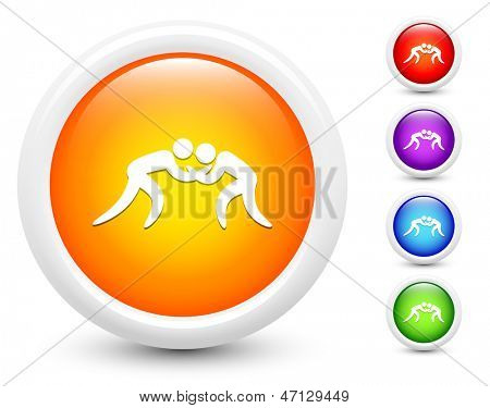 Wrestling Icons on Round Button Collection Original Illustration