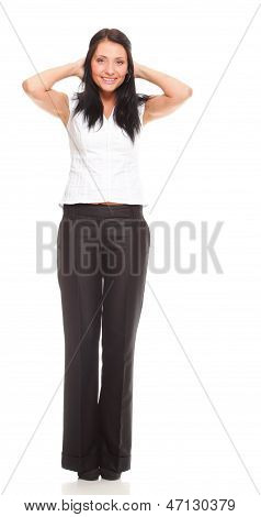 Portrait Of A Happy Young Business Woman Standing Full Lenght