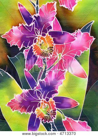 Purple Batik Orchids