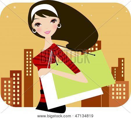 Fashion woman at the shopping