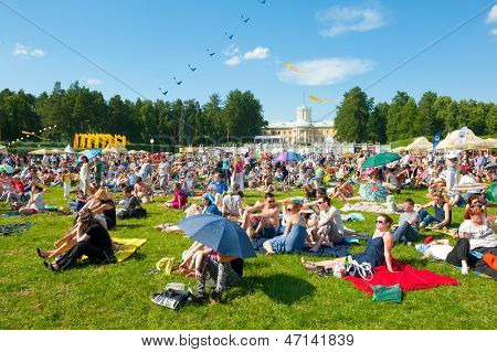 MOSCOW - JUNE 15: People attend open-air concert on X International Jazz Festival