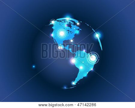 world map globe connection