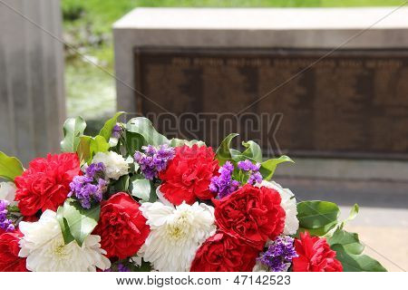 Remembrance wreath at war memorial
