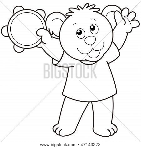 Cartoon Bear Playing A Tambourine