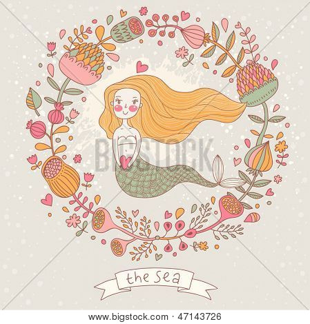 Cute vector background with beautiful mermaid in flowers with place for text. Retro style card.