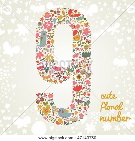 The number Nine. Bright floral element of colorful alphabet made from birds, flowers, petals, hearts and twigs. Summer floral ABC element in vector